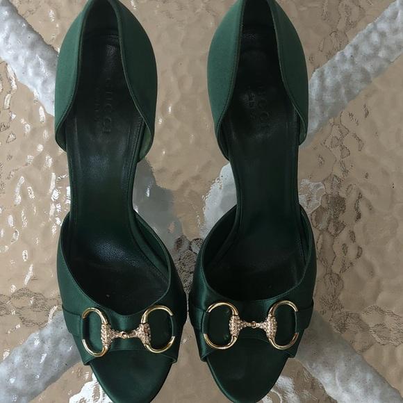 2c47425cf592 Gucci Shoes - Vintage green Gucci satin pumps